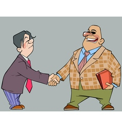 cartoon men in suits shaking hands vector image