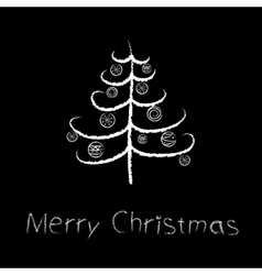 chalk christmas tree vector image