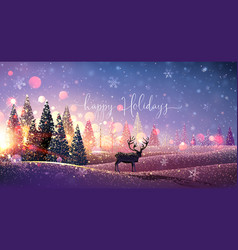 christmas card with reindeer winter sunny vector image