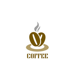coffee logotype hot coffee beans logo cafe food vector image