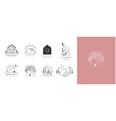 collection hand drawn home house logos vector image
