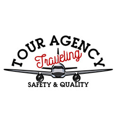 color vintage tour agency emblem vector image