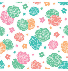 Colorful rose garden ditsy floral with stars vector