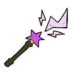 comic cartoon magic wand casting spell vector image