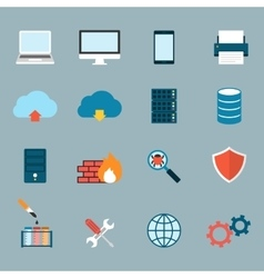 Computer Service and Maintain Icons Flat vector image