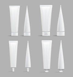 Cosmetic tube set mock up cosmetic cream vector