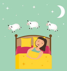 Counting girl to fall asleep vector