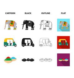 Country india cartoonblackoutlineflat icons in vector