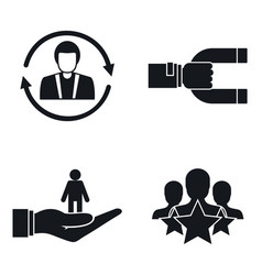 Customer retention marketing icon set simple vector