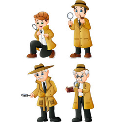 cute cartoon detectives collection set vector image