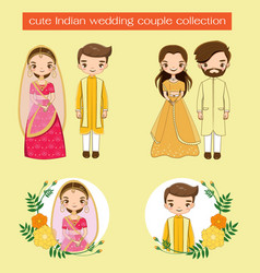 Cute indian wedding couple in traditional dress vector