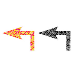 Dot turn left mosaic icons vector