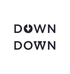 Down word with arrow for design editable vector