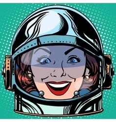 emoticon joy smile Emoji face woman astronaut vector image