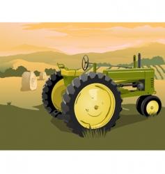 Farm tractor scene vector