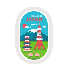 Flat design Japan landmarks vector image