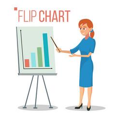 Flip chart presentation concept woman vector