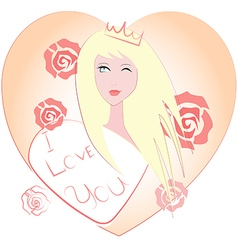 Girl wearing a crown and roses vector