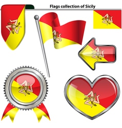 Glossy icons with Sicilian flag vector