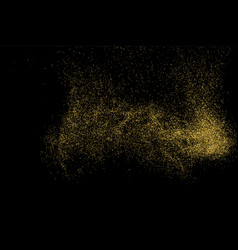 gold glitter texture isolated on black vector image