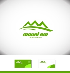 Green mountain logo tourism tourist icon vector