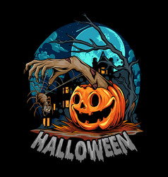 Halloween with pumpkin giving out zombie hands vector