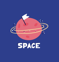 hand drawn planet with orbit doodle flat cartoon vector image