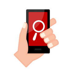 Hand holding a smartphone with a search icon vector