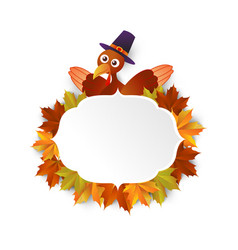Happy thanksgiving turkey with leaves vector
