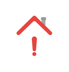 icon concept of exclamation mark under house roof vector image
