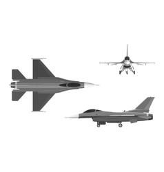Image of military aircraft three views vector