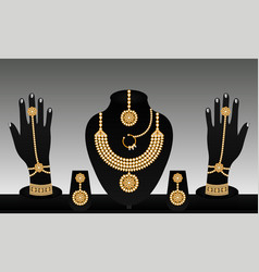 Indian traditional gold and pearl jewellery set vector