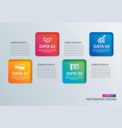 Infographics square paper with 4 data template vector