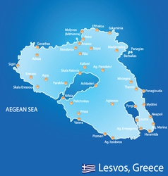 Island of Lesvos in Greece map vector
