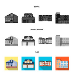 Isolated object of building and front logo set of vector