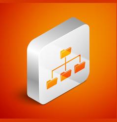 isometric folder tree icon isolated on orange vector image