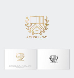 j monogram gold letter like herald shield vector image
