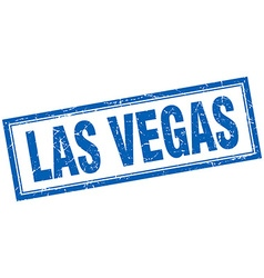 Las Vegas blue square grunge stamp on white vector