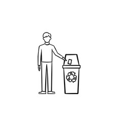 man throwing garbage in a trash bin hand drawn vector image