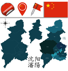 Map of shenyang with divisions vector