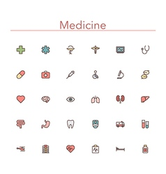 Medicine Colored Line Icons vector image vector image