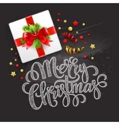 Merry christmas greeting card christmas gift box vector
