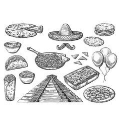 Mexican national food and cinco de mayo signs vector
