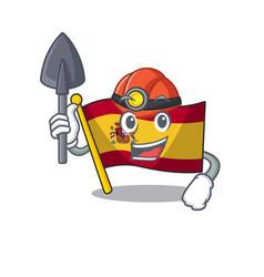 Miner flag spain isolated in cartoon vector