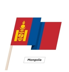 Mongolia Ribbon Waving Flag Isolated on White vector