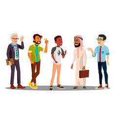Multicultural group of man together vector