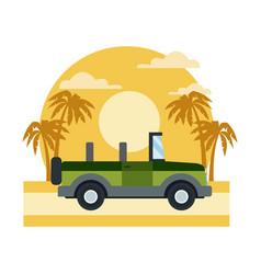 Off road sport truck on sunset landscape vector