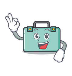 Okay suitcase character cartoon style vector