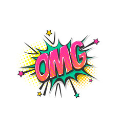 Omg pop art comic book text speech bubble vector