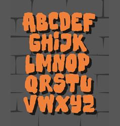 orange comic graffiti font alphabet vector image